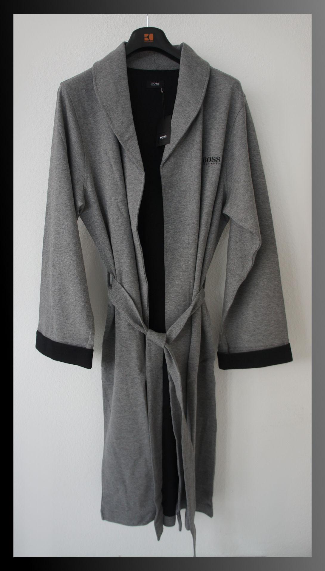 hugo boss bademantel morgenmantel gr s grau schwarz uvp 129euro neu ebay. Black Bedroom Furniture Sets. Home Design Ideas