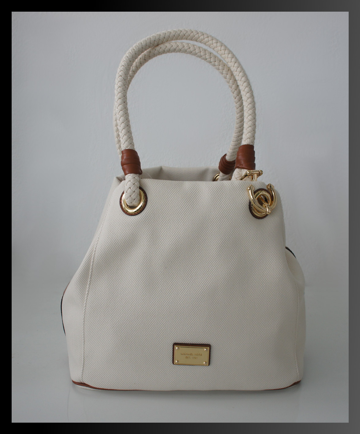 michael kors tasche marina gro weiss handtasche leder textil neu ebay. Black Bedroom Furniture Sets. Home Design Ideas