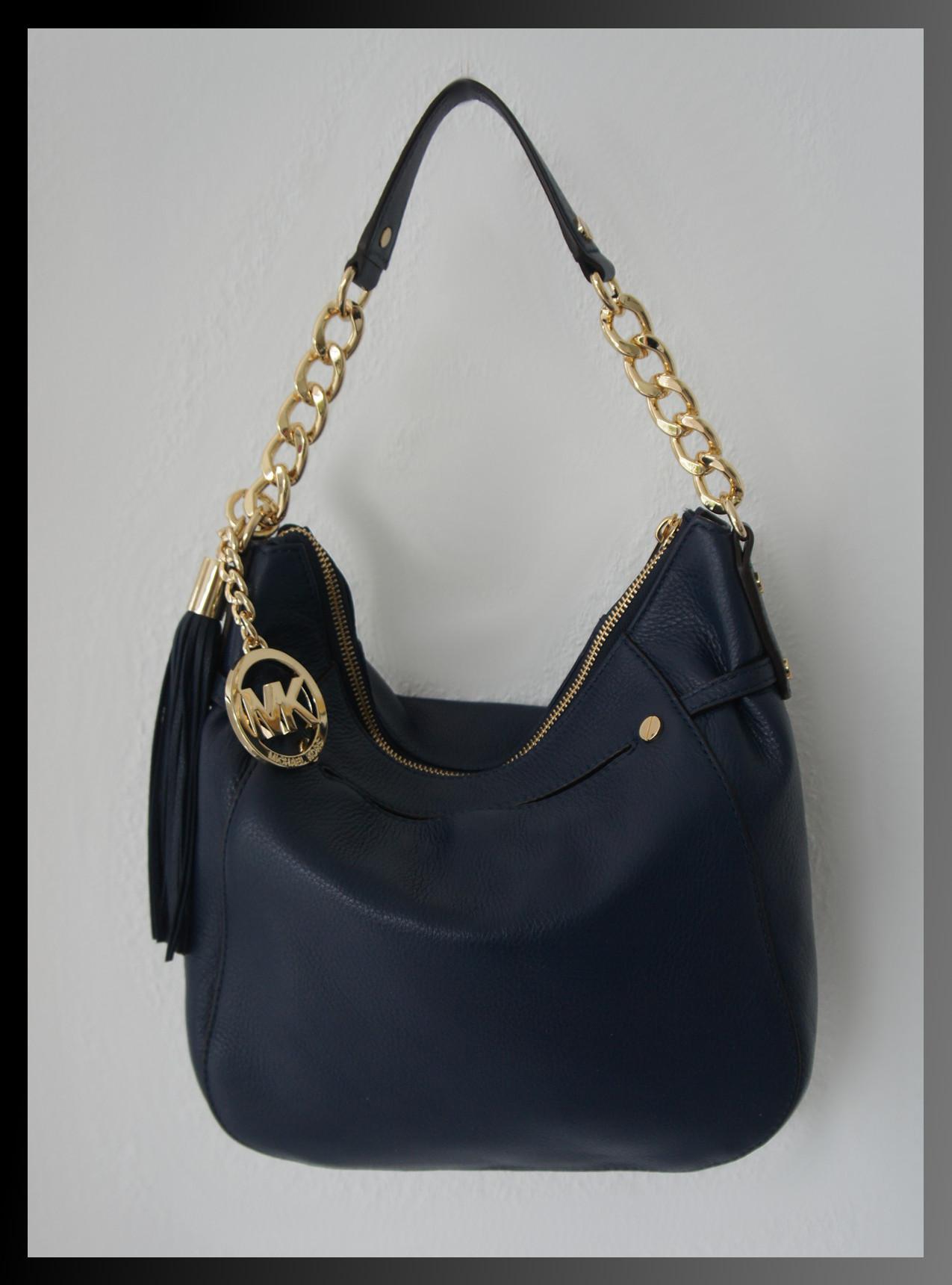 michael kors tasche handtasche zip top leder dunkelblau. Black Bedroom Furniture Sets. Home Design Ideas