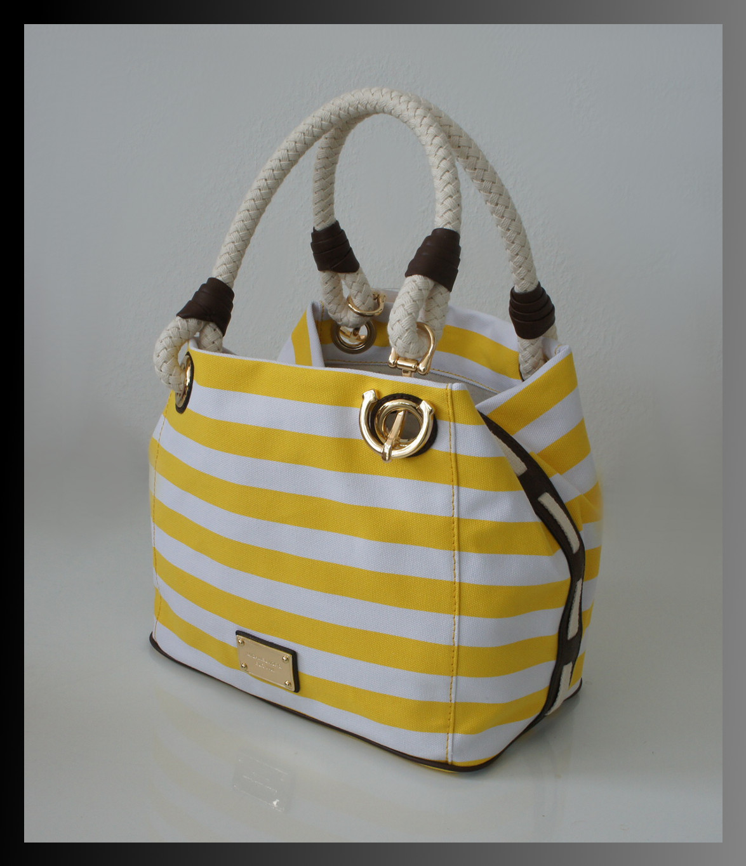 details zu michael kors tasche marina gelb weiss sommer handtasche. Black Bedroom Furniture Sets. Home Design Ideas