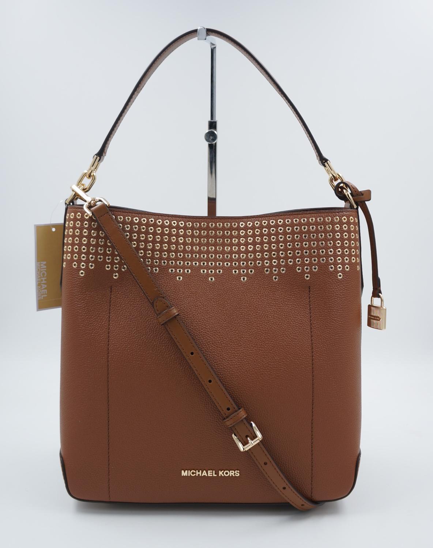 d85cff587c347 MICHAEL KORS Tasche Handtasche Hayes LG Bucket Leder Luggage